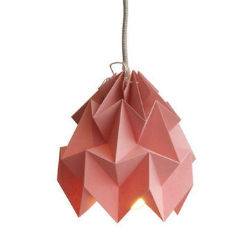 Moth origami lampshade pink by nellianna on Etsy