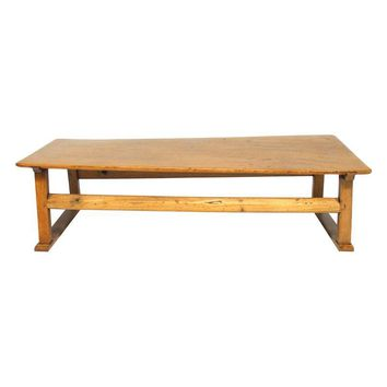 Pre-owned Chinese Rustic Carved Low Coffee Table