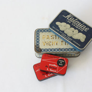 Old little box of cough sweets, Red metal box, collection box, pharmacy