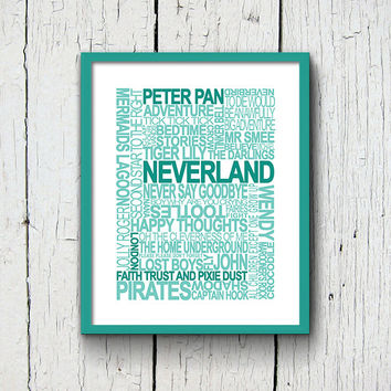 Peter Pan Subway Art Print, Neverland Printable Wall Art, Captain Hook Nursery Decor Print, Book Quote Art, Printable Dorm Decor, Kids Room