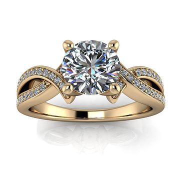 Criss Cross Diamond Engagement Ring Moissanite Center - Katarina