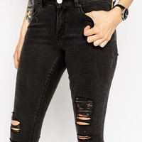 ASOS Lisbon Skinny Midrise Jeans in Severn Charcoal Wash