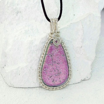 Pink Dichroic Teardrop Shape Wire Wrapped Art Handmade Glass Jewelry, Fused Glass Pendant Necklace  E219
