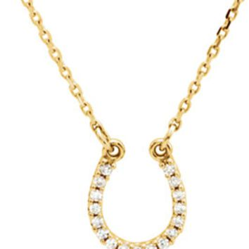 14k Gold Horseshoe Necklace.