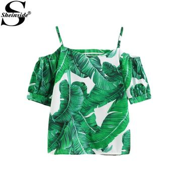 Sheinside Green Casual Blouse 2017 Women Palm Leaf Print Sexy Cold Shoulder Summer Tops Fashion Short Sleeve Tunic Beach Blouse