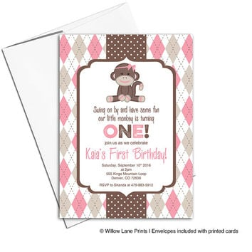 Sock monkey birthday invitations girl | pink and brown 1st birthday invitation | monkey birthday invitation | printable or printed