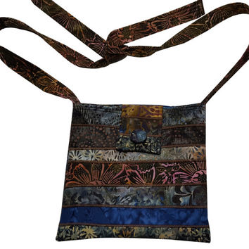 Large Cross Body Hip Purse in Brown and Navy Blue Batik