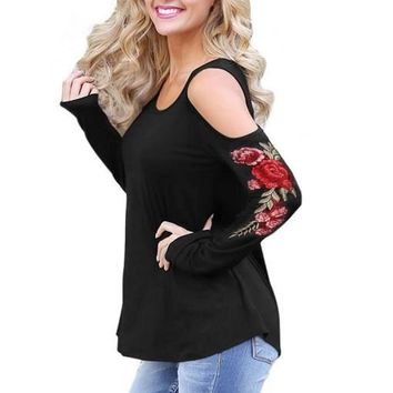 Long Sleeve Ladies Round-neck Strapless T-shirts [274458771485]