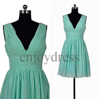 Custom Mint Short Bridesmaid Dresses 2014 Cheap Prom Dresses Hot Homecoming Dress Fashion Party Dress Bridesmaid Dress Short Ball Gown