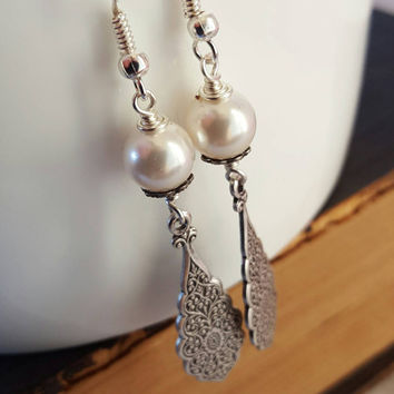 White Pearl Dangle Earrings Pearl Jewelry Romantic Bridal Collection Sterling Silver Winter Fashion