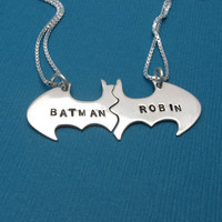 Batman Best Friend necklaces, Friendship Personalized, sterling silver on Black Cotton CORD
