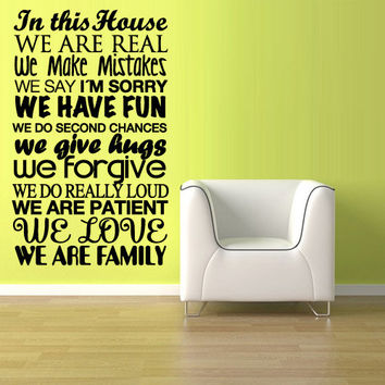 Wall Vinyl Sticker Decals Decor Art Words Sign Quote House rules (z1139)