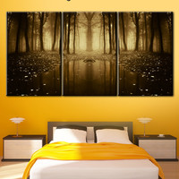 Forest, forest fairy tale, trees, art trees, forest fog,  Living Room Decor, yellow wood art, wood on canvas, trees in the forest