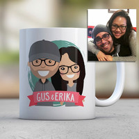 Engaged Wedding Couple Gift Custom Illustration Avatar Brother Gift Sister Gift Husband Gift Wife Gift Coffee Mugs Cute Mugs Wedding Favors