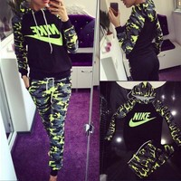 NIKE Fashion Casual Multicolor Camouflage Letter Print Long Sleeve Hooded Set Two-Piece Sportswear-2
