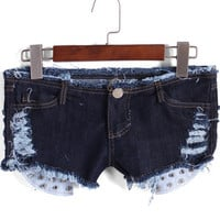 Navy Low Waisted Distress Denim Shorts