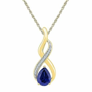 10kt Yellow Gold Women's Pear Lab-Created Blue Sapphire Solitaire Diamond Pendant 1-4-5 Cttw - FREE Shipping (US/CAN)