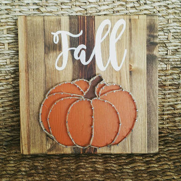 Hand Painted Fall Pumpkin String Art Sign,  Farmhouse Harvest/Autumn Home Decor, Rustic Hemp Rope Pumpkin Wall Decor, Ready to Ship