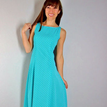 Vintage Turquoise Teal Dress, Polka Dot Dress, Blue Dress, Aqua Dress, shift dress, XS, small
