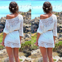 Fairy Crochet Lace One Shoulder Mini Dress