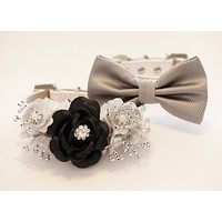 Black Silver wedding Dog collar, Bow tie and Floral collar