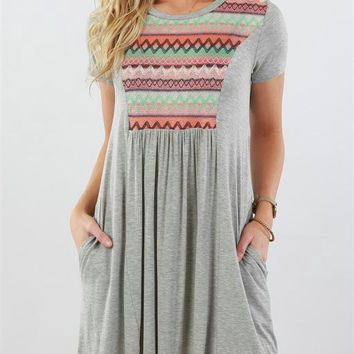 Casual Round Neckline Oversize Casual Dress