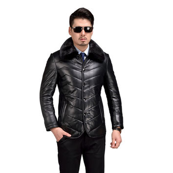 Genuine Leather Coat Men Winter Warm Shearling Sheepskin Jacket Mink Collar Mens Pure Leather Jackets