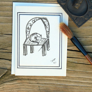 sumi e painting blank card: Striped kitty having a siesta on vintage chair/Japanese painting/Watercolor painting/Black ink painting