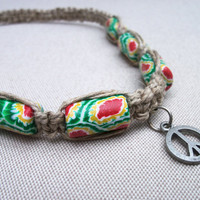 Natural Hemp and Polymer Clay Beaded  Peace by FlowertownOriginals