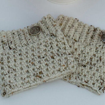 Beautiful crochet boot cuffs, oatmeal leg warmers, cute winter accessory for girl or woman