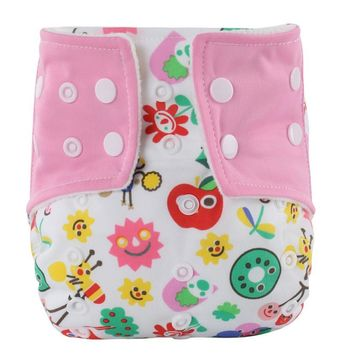 2017 Washable Baby Cloth Diaper Nappies Cover Waterproof Cartoon Pattern Baby Diapers Reusable Cloth Nappy Suit 0-3years