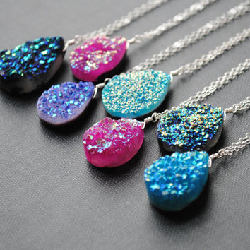 Druzy Necklace, Silver Druzy Necklace, Druzy Jewelry, Drusy Necklace, Drusy Jewelry