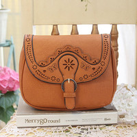 Brown Leather Embroidery Pattern Bag