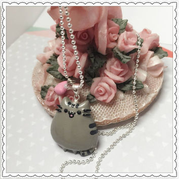 Pusheen the cat Kawaii emoticon media sticker, for girls for her, gift for teen Necklace