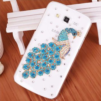 Luxury 3D Peacock Bird bling Crystal diamond Mobile phone Shell Back Cover Skin Hard Case For Samsung Galaxy J5 Case Duos J500