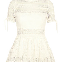 Alexis Juliana Embroidered Lace Frill Top at INTERMIX | Shop Now | Shop IntermixOnline.com