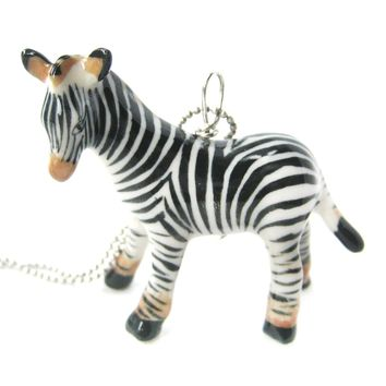 Detailed Zebra Porcelain Ceramic Animal Pendant Necklace | Handmade