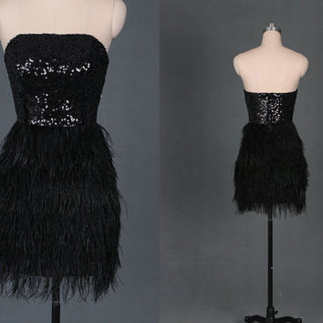 2014 black sequins prom gowns with ostrich feather,short strapless dress for homecoming party,latest cheap holiday dresses hot.
