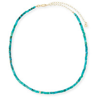 Sydney Evan Beaded Turquoise Necklace with Diamond Rondelle