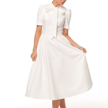 Maxi Dress for Women,White Dress Retro Style Jacquard Dress with Bow ,elegant and classic Dress.