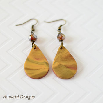 Brown polymer clay dangle earrings **Free US Shipping** Teardrop earrings, drop earrings, clay earrings