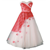 Vintage 1950's Pink Tulle Flower Appliques Cocktail Dress