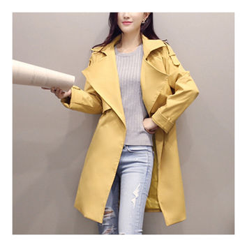 Woman Middle Long Wind Coat Casual Slim Plus Size   ginger   S