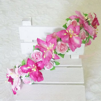 Hot ink lily rose headband Tie back Flower crown paper Wedding headpiece Flower headband/ flower hair vine