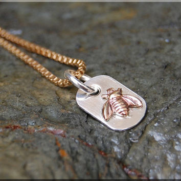 Sterling Silver with Gold Tiny Bee Charm Necklace, Gold Bee Pendant, Gold Bumble Bee Charm, Sterling Silver Tiny Bee charm jewelry