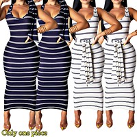 Sexy Stripe Printed Sleeveless Dresses for Fashion Women Only one piece