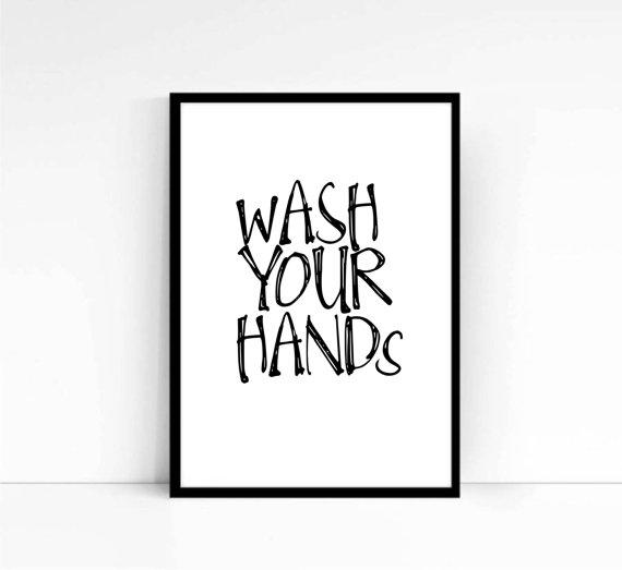 Wash Your Hands,Bathroom Print,Bathroom from mixarthouse ...