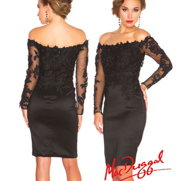 (PRE-ORDER) Mac Duggal 2014 Prom Dresses - Black Lace Off-the-Shoulder Cocktail Dress