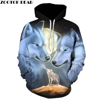 Wolf Printed 3d Hoodies Novelty Sweatshirts Fashion Casual Coats Male Hooded Jackets