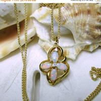 ON SALE 14k Yellow Gold Australian Opal and Diamond Necklace 3.39 grams